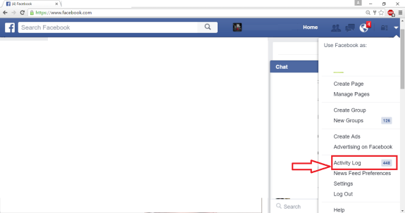 Select search activity in Facebook