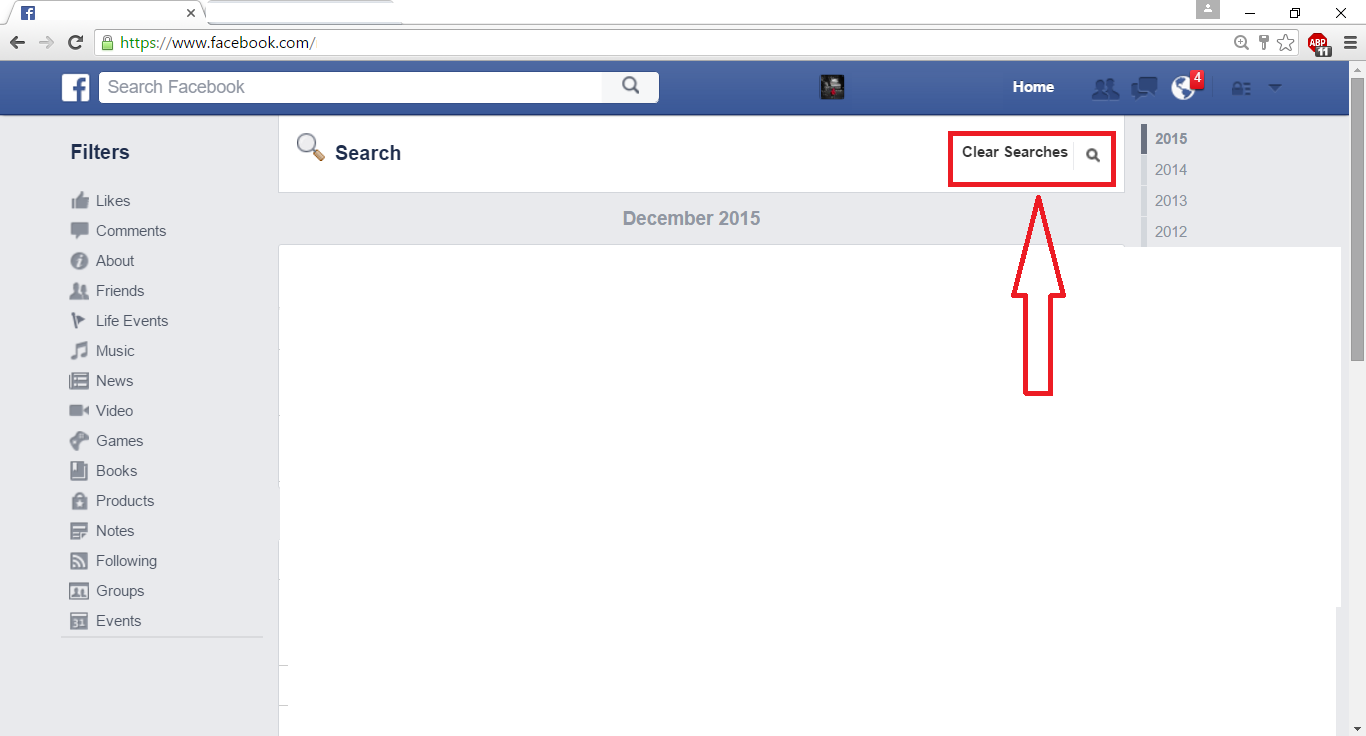 Clear search history in facebook